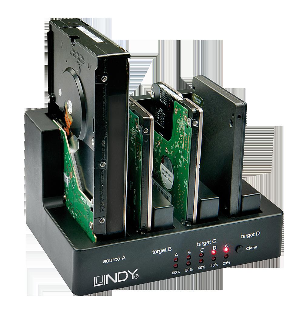 DOCKING STATION BASIC PENTRU 4 HDD SATA FUNCTIE DE CLONA, USB 3.0 & ESATA, LINDY L43114